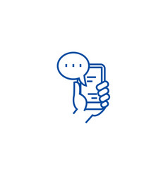 mobile chat line icon concept mobile chat flat vector image