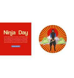 Ninja assassin with japanese weapon sword to vector