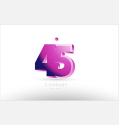 Number 45 black white pink logo icon design vector