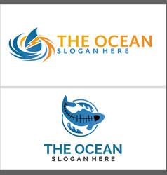 Ocean sea waterways logo design vector