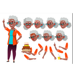 old woman senior person black afro vector image