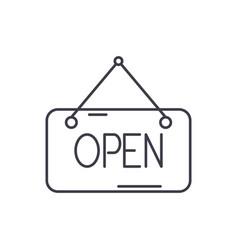 open inscription line icon concept open vector image