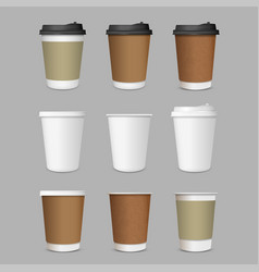 paper coffee cups set realistic 3d style vector image