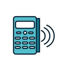 Pos terminal payment internet things line and vector