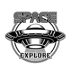 Retro badge with ufo vector