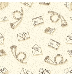 Seamless pattern with envelopes letters vector