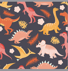 seamless pattern with flat cartoon dinosaurs vector image