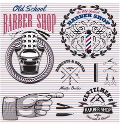 Set icons on a theme barber shop vector