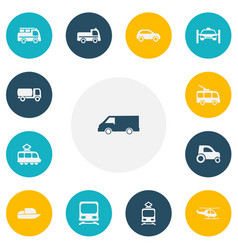Set of 13 editable transportation icons includes vector