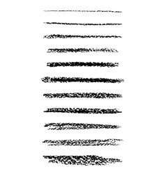 set of chalk brushes lines with chalk texture vector image