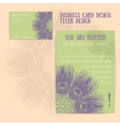 Set of flyer and business card vector