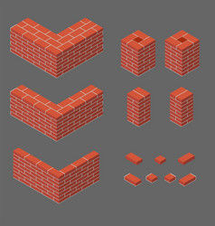 Set of isometric masonry items vector