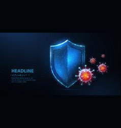 Shield vs virus abstract 3d shield viral vector