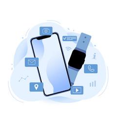 Smartphone compatible smartwatch vector