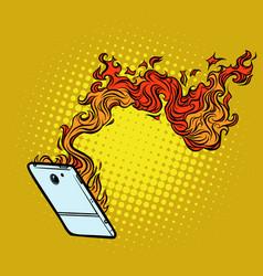 Smartphone flames destruction technology vector