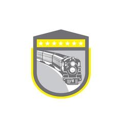 steam train locomotive retro shield vector image