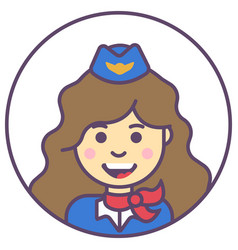 stewardess girl avatar girl in blue hat icon girl vector image