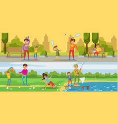Summer leisure activity horizontal banners vector