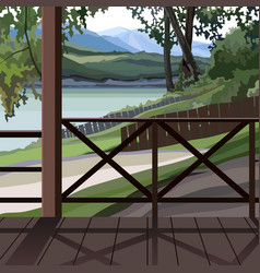 Summer nature view from wooden terrace vector