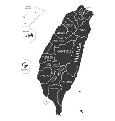taiwan map labelled black vector image