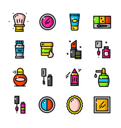 thin line makeup icons set vector image