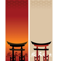 Two abstract Asian Landscapes vector