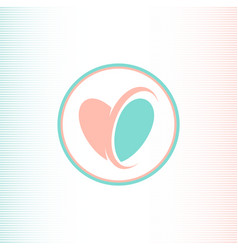 two halves of the heart logotype pink and blue vector image