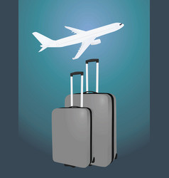 two suitcases in front of airplane vector image