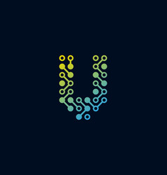 V circuit digital letter logo icon design vector