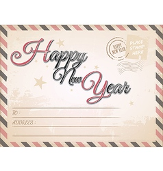 Vintage Happy New year postcard vector image