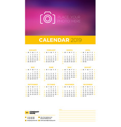 wall calendar poster template for 2019 year week vector image