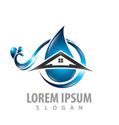 water drop wave with home building logo concept vector image