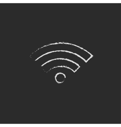 Wifi icon drawn in chalk vector
