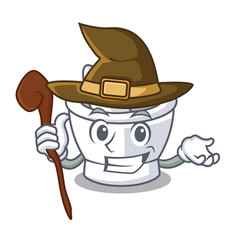 Witch mortar mascot cartoon style vector