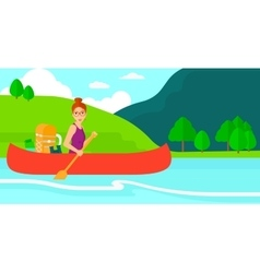 Woman canoeing on the river vector