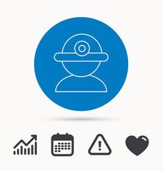 worker icon engineering helmet sign vector image