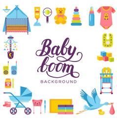 World breastfeeding week and kids elements flat vector