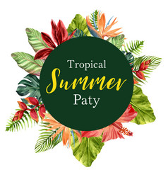 wreath design with tropical theme colorful vector image