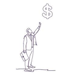 business man point finger on dollar sign doodle vector image