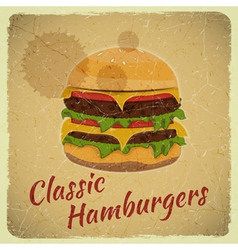 Grunge Cover for Hamburgers Menu vector image