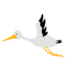 isolated cute stork icon vector image vector image