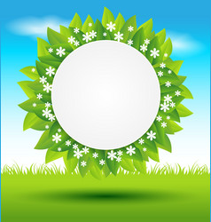 Leaves frame with white flowers on green vector image vector image