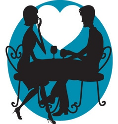 romantic couple silhouette vector image vector image
