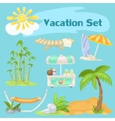 Sunny vocaton beach set on a blue background vector image