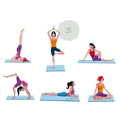 Women Practicing Yoga vector image