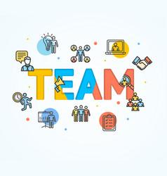 cartoon team concept card poster vector image vector image