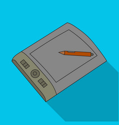 Drawing tablet with stylus icon in flat style vector