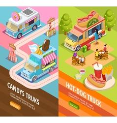 Food trucks 2 vertical isometric banners vector