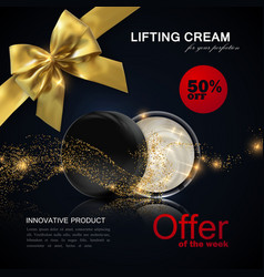 Lifting facial cream ads poster template vector