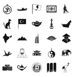 oriental icons set simple style vector image